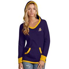 Women's Antigua Purple Los Angeles Lakers Vibe French Terry Long Sleeve Pullover Hoodie