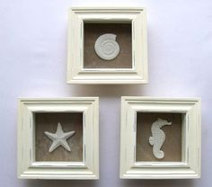 New Starfish Wall Art Shadowbox Set Seashell Beach Ocean Decor 3D Picture Frame #Nautical