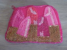 Mary Kay Gold Pink Lipstick Beaded Coin Purse MK Signature 4x3 Chapstick Holder #MaryKay #CoinPurse