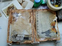 Collage, mixed media, altered book grungy art.