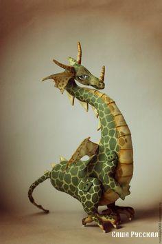 Fabric toy Dragon   Купить Дракон Лора - тёмно-зелёный, дракон, интерьерная грушка, дракон лора, саша русская