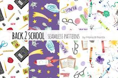 Watercolor Seamless Patterns - Learn by Maria B. Paints on @creativemarket