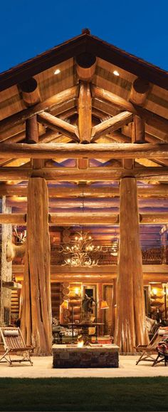 Handcrafted log home in Jackson Hole. Featuring 25 foot ceilings and hand-peeled logs.