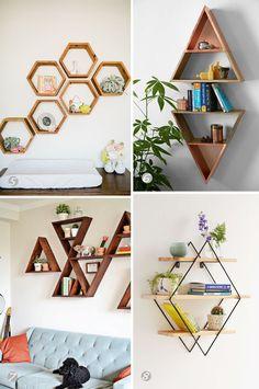 Nichos geométricos na decoração. Nichos triangulares, colméia e losango.