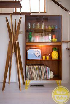 Hello Retro G PLAN E Gomme Mid Century Danish Influence Teak Sideboard Cabinet Bookcase Record Vinyl storage on yellow hairpin legs