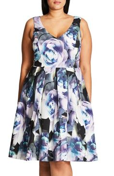 City Chic 'Luminous' Floral Print Fit & Flare Dress (Plus Size) available at #Nordstrom