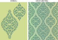 DIY morrocan design - use a stencil and paint to redecorate walls, textiles, vases - you name it!