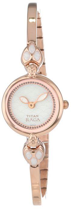 "Titan Women's 2444WM01 ""Theme Raga"" Rose Gold-Tone Stainless Steel Watch"