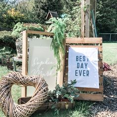 Potting shed inspired wedding entrance Wedding Signs, Wedding Table, Wedding Banners, Wedding Decorations, Wedding Day, Welcome To Our Wedding, Wedding In The Woods, Wedding Entrance, Order Of The Day