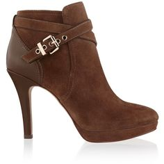 White House Black Market Womens Neutral Suede Brown Booties ($70) ❤ liked on Polyvore featuring shoes, boots, ankle booties, faux-suede boots, suede boots, brown booties, buckle boots and brown ankle booties