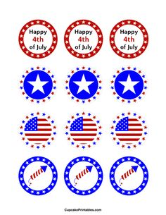 Free printable cupcake toppers in PDF format. Themes include animals, holidays, nature, and more. 4th Of July Party, Fourth Of July, 4th Of July Wreath, Bottle Cap Images, Bottle Caps, 4th Of July Clipart, Birthday Cup, Happy 1st Birthdays, Party Favor Tags
