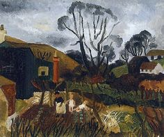Cottages in Cornwall, 1928 Painting by Christopher Wood Reproduction Artist Painting, Painting On Wood, Cornwall Cottages, West Cornwall, Most Famous Paintings, Wood Oil, Cottage In The Woods, Oil Painting Reproductions, Naive Art