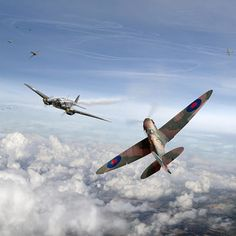 Spitfire Attacking Heinkel Bomber by Gary Eason Ww2 Aircraft, Military Aircraft, Supermarine Spitfire, Ww2 Spitfire, Airplane Painting, D Day Normandy, Jet Skies, The Spitfires, Ww2 Pictures