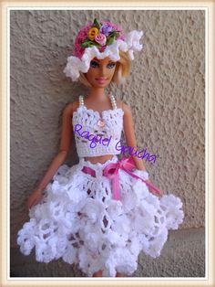 #Hat #Barbie #Crochet #Doll #Muñeca #Blusa #Saia #Chapéu #Sombrero #RaquelGaucha