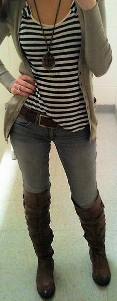 This!! Brown boots. Cardigan. Navy stripes.