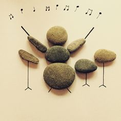 Drummer pebble art