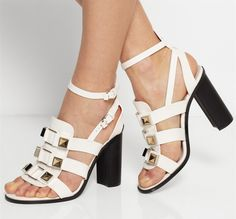 91.20$  Buy now - http://ali3qu.worldwells.pw/go.php?t=32373213247 - White Sandals Summer Women Shoes 2015 Buckle Strap Sequare Heels Zapatos De Novia Wedding Shoes Designer Sandals Channel Shoes