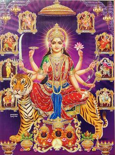 Navadurga - Nine Form of Durga (Poster with Glitter) (Reprint on Paper - Unframed)