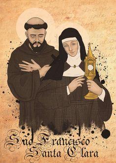 St Francis and St Clare Catholic Doctrine, Catholic Religion, Catholic Art, Catholic Saints, Roman Catholic, Religious Art, Sainte Rita, Sainte Claire, St Francisco