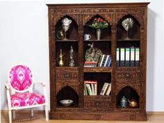Wohnzimmerschrank kolonialstil ~ 270 cm hoch antik orient regal nuristan afghanistan shelf cabinet