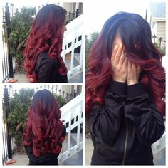 ein mädchen drei fotos - schwarz-rote haare (Pastel Hair Balayage)