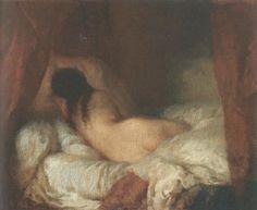 누워있는 여인의 누드(Femme nue couchee) / 장 프랑수아 밀레(Jean-Francois Millet) / 19세기경 / 유화 / 캔버스에 유채 / 오르세 미술관 소장 / 여인은 침대에 누워있다. 그녀의 상체부분은 커튼의 그림자에 가려있는데 그래서인지 어둠 속에 얼굴을 감추고 있는 느낌도 든다. 단지 누워있는 것이 아닐지도 모른다. 표정을 알 수 없는 여인의 뒷모습에서 슬픈 느낌이 드는 것은 그녀가 그림자 속에 숨어드는 것 같기 때문일 것이다.