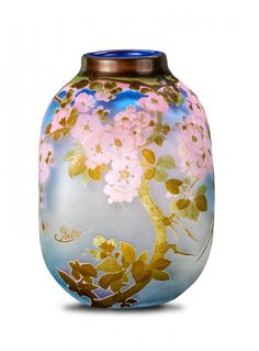 An Emile Galle carved cameo glass vase, French, c.1900, moulded signature Galle