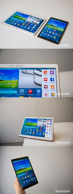 """With the Galaxy Tab S, Samsung brings its premium """"S"""" brand to tablets. It comes in two sizes, 8.4 inches and 10.5 inches, and is meant to offer and Android equivalent of the iPad Air and iPad Mini With Retina Display."""