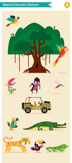 :::Hopscotch characters::: by Ilias Sounas, via Behance