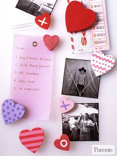 These simple memo magnets are the perfect craft for your little cupid. To make, paint small wooden hearts, let dry, and glue a magnet on the back. It's a charming way to display cards and photos.
