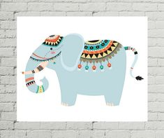 Elephant Art Print, Elephant Art, Elephant Art Nursery, Elephant Decor, Elephant Baby Shower, Elephant Artwork, Tribal Nursery Art, Elephant