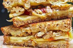 honey grill, fontina, grilled cheese sandwiches, walnut, apples, chees sandwich, brie, grilled cheeses, grill chees