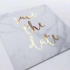 Marble save the date with gold foil lettering   2016 Wedding Trend   Marble Wedding Details