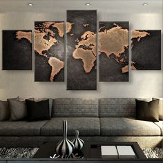 Rustic World Map 5 Piece Canvas Set! Come check it out today!