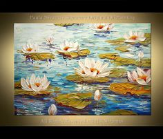 """Water Lily 36"""" ABSTRACT ORIGINAL Palette Knife Thick Texture by Paula Nizamas ready to hang Ready to ship"""