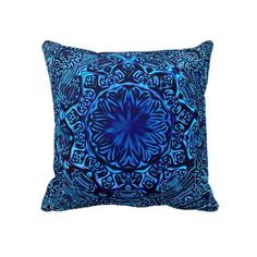 Blue Abstract Flower Throw Pillow by Abstractdream