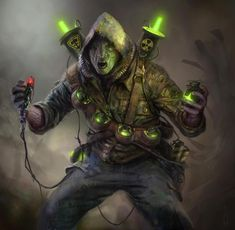 """Wasteland 2 Concept Art from InXile.     """"Here is another portrait piece by another of the very talented concept artists.     These mad little guys wear bandoliers of mini-nuke grenades and if provoked, will charge shouting """"To Titan!"""" before self-detonating."""""""