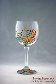 Peacock Wine Glass Set of 2 Hand painted by HennaHarmony on Etsy, $45.00