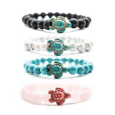 Sea Turtle Tracking Bracelets – Ocean & Company Beaded Cuff Bracelet, Stone Bracelet, Diy Bracelet, Tracking Bracelet, Sea Turtle Bracelet, Thing 1, Black Bracelets, Ankle Bracelets, Ceramic Beads