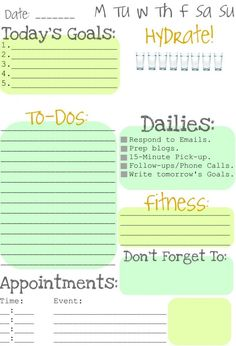 Daily Life Goals Printables