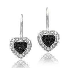 $19.99 - Black Diamond Accent Sterling Silver Falling Heart Earrings