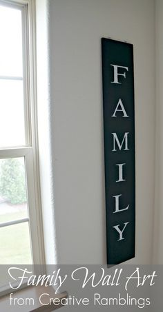 Family wall art using Chalk paint and Silhouette cut contact paper stencil