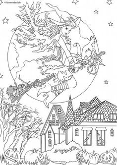 Glamorous Witch Halloween colouring page