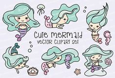 Premium Vector Clipart Kawaii Mermaids Cute Mermaids