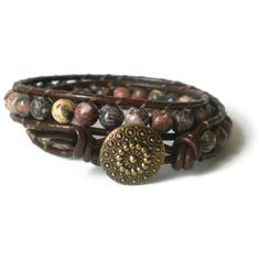 boho beaded wrap bracelet, leopard skin jasper, leather, decorative button, shabby chic, double wrap. £20.00, via Etsy.