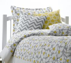 This poppy duvet with chevron and metro accent pillows perfectly matches our poppy 4-pc baby bedding set. No need to worry about re-decorating the room when it is time to upgrade to a 'big bed'! More bedding designs available at www.amdorm.com, #shopnow #madeinUSA