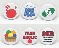 Yarn Love Set of 6  1 pinback button Pin Badge by OhBoyLoveIt