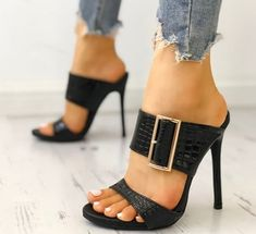 Womens PU Stiletto Heel Sandals Pumps With Buckle shoes - High Heels Stilettos, Stiletto Heels, Shoes Heels, Louboutin Shoes, Hot Shoes, Crazy Shoes, Beautiful Shoes, Heeled Mules, Fashion Shoes
