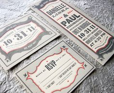 Invitation suite referencing 1920s marquee style for a halloween wedding