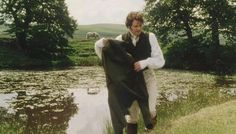 Colin Firth as Mr. Darcy at the pond undressing. Image @JaneAustensWorld